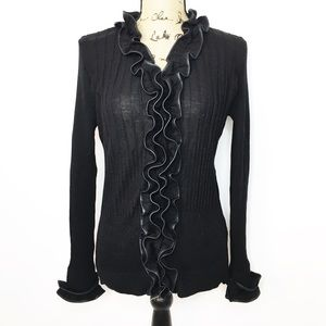 Anne Fontaine Black Faux Leather Ruffle Top